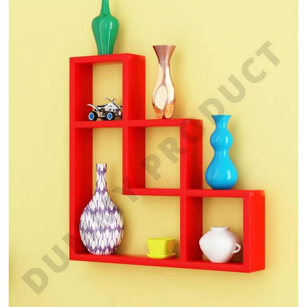 Home Sparkle L Shaped Wooden Wall Shelf (Number Of Shelves   7, ...