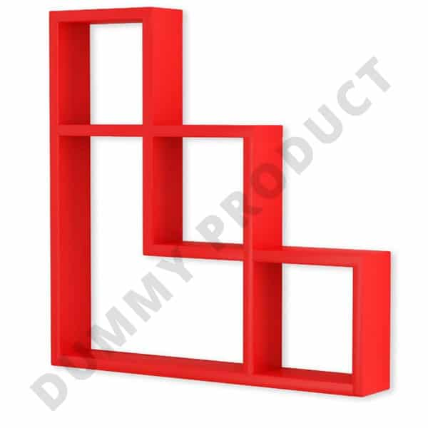 Home Sparkle L Shaped Wooden Wall Shelf (Number of Shelves - 7, Red) wd-2  wd-3
